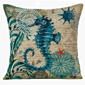 Marine Seahorse Pillow Cover - Green Earth Animals