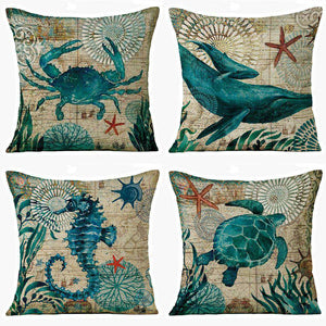 Marine Whale Pillow Cover