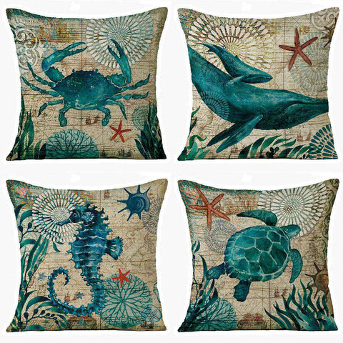 Marine Crab Pillow Cover - Green Earth Animals