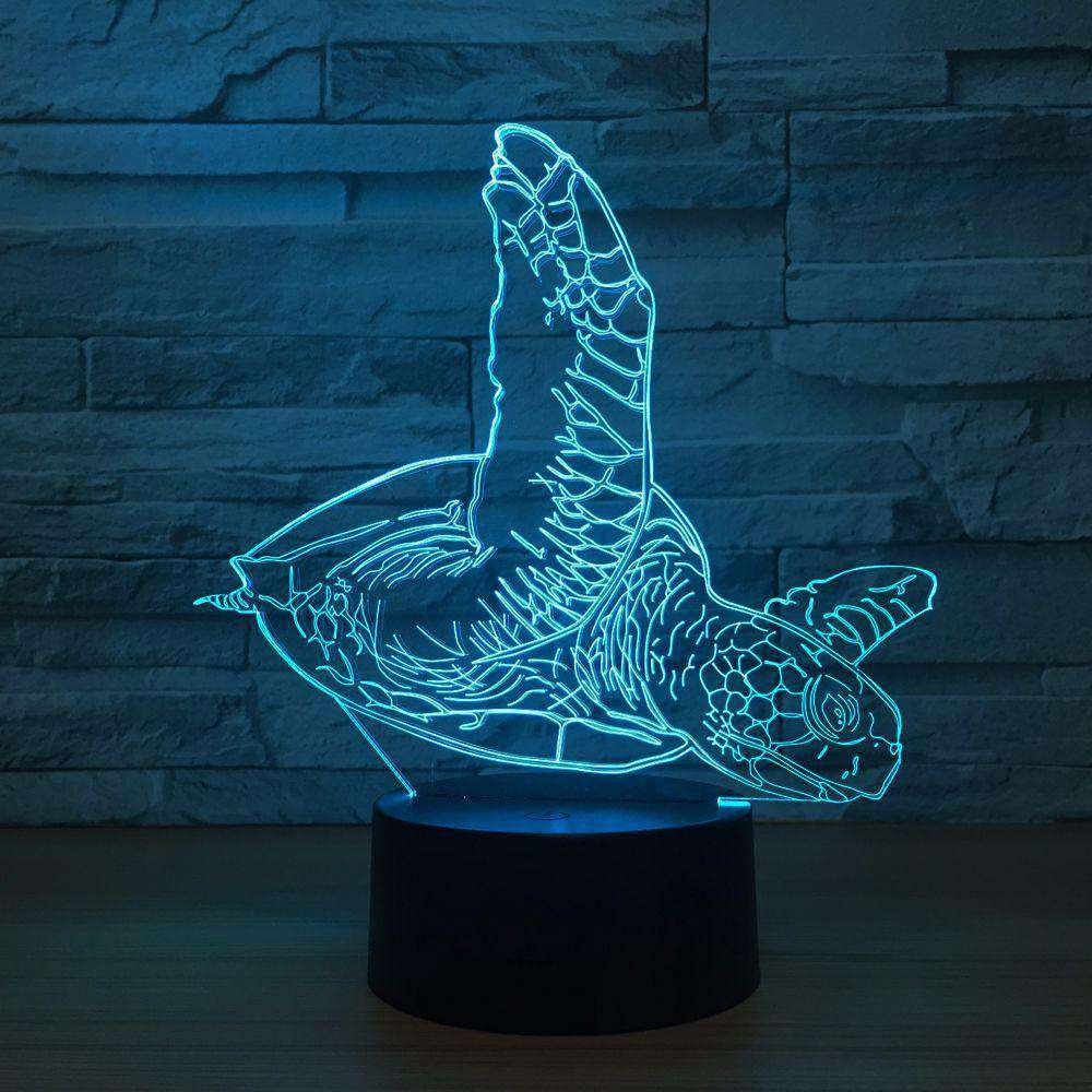 3D Sea Turtle LED Changing Light Lamp - Green Earth Animals