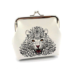 White Leopard Leather Coin Purse - Green Earth Animals
