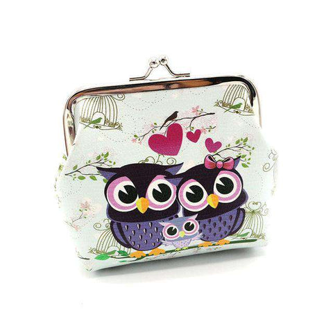 Owl Love Leather Coin Purse - Green Earth Animals
