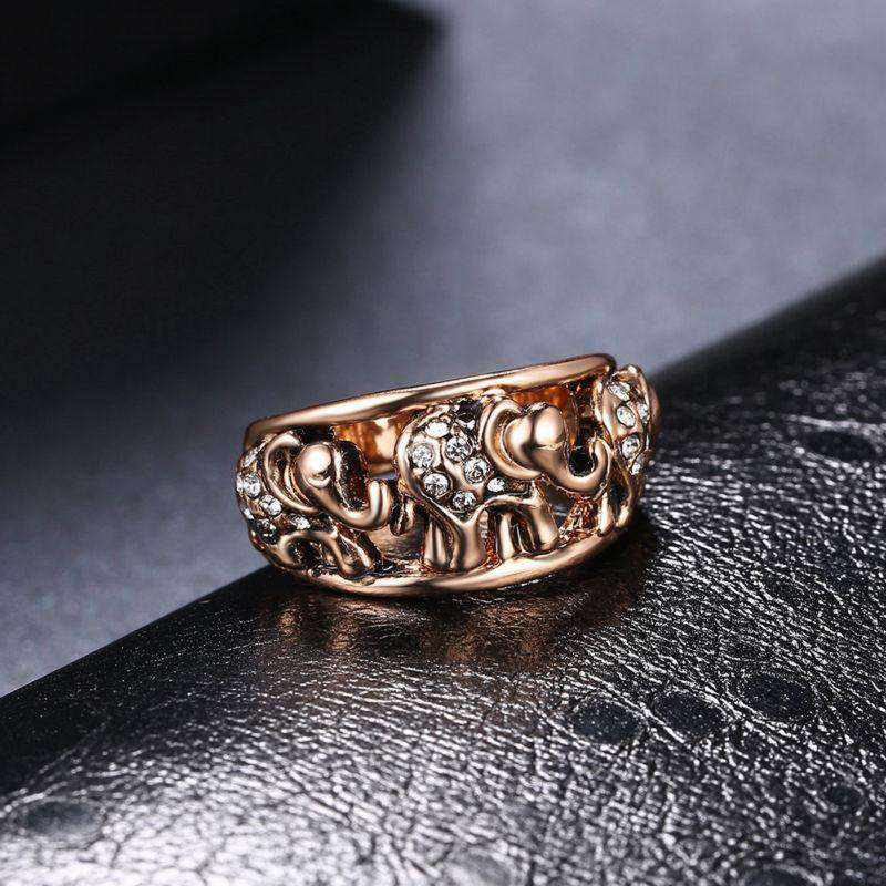 Rose Gold Crystal Elephant Ring - Green Earth Animals