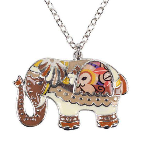 Asian Enamel Elephant Necklace - Green Earth Animals