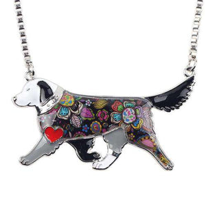 Golden Retriever Enamel Necklace - Green Earth Animals