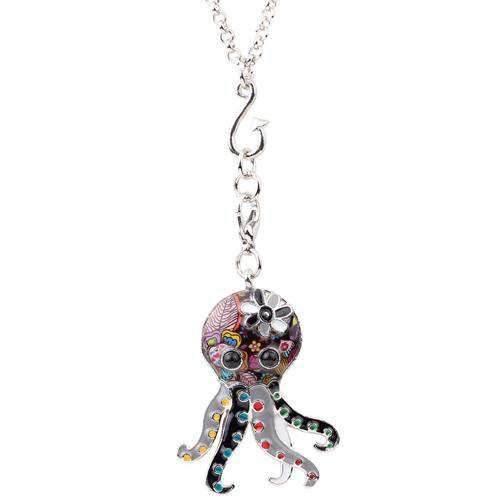 Modern Octopus Necklace - Green Earth Animals