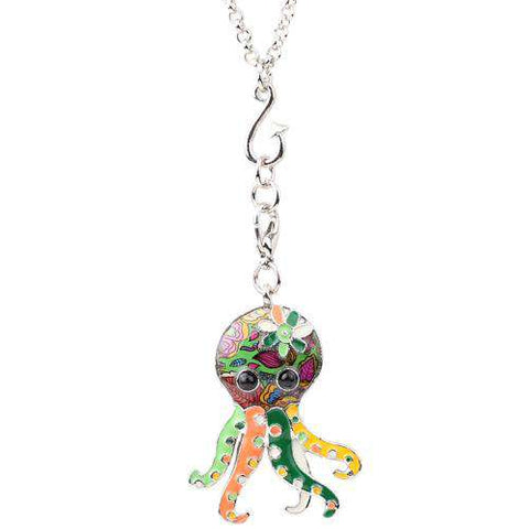 Image of Modern Octopus Necklace - Green Earth Animals