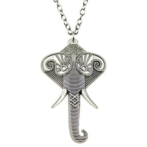 Huge Elephant Pendant Necklace - Green Earth Animals