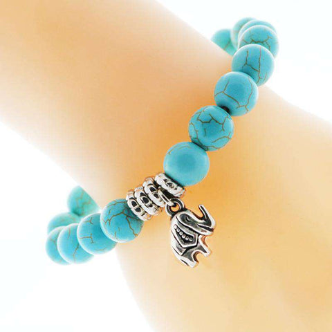 Image of Turquoise Elephant Charm Bracelet - Green Earth Animals