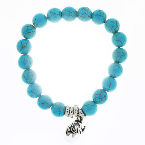 Turquoise Elephant Charm Bracelet - Green Earth Animals