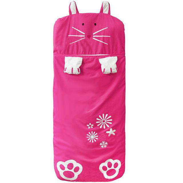 Girls Pink Rabbit Sleeping Bag - Green Earth Animals