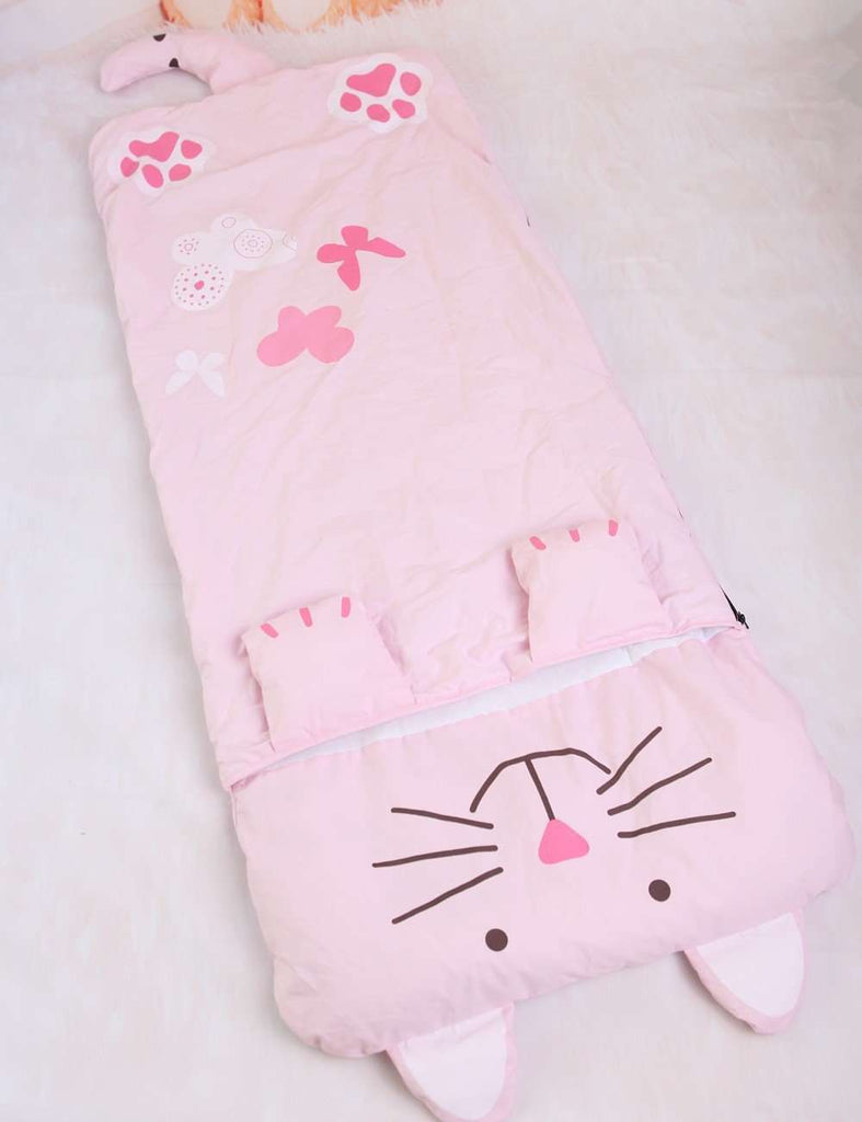 Cute Pink Cat Sleeping Bag - Green Earth Animals