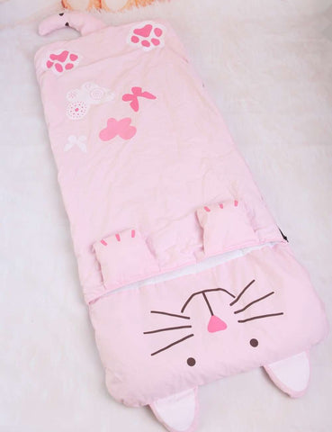 Image of Cute Pink Cat Sleeping Bag - Green Earth Animals