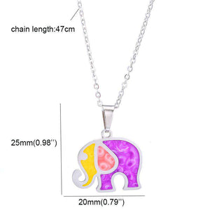 Colorful Pink Elephant Necklace