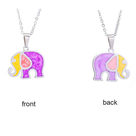 Colorful Pink Elephant Necklace - Green Earth Animals