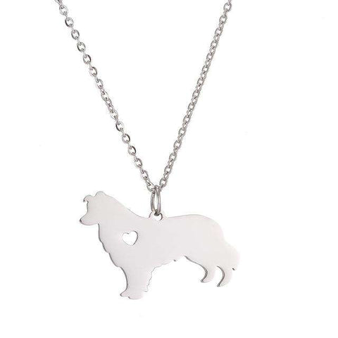Border Collie Heart Pendant Necklace - Green Earth Animals