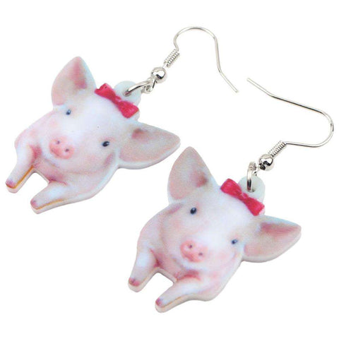 Image of Cute Piglet Earrings - Green Earth Animals