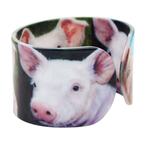 Acrylic Pig Bracelet - Green Earth Animals