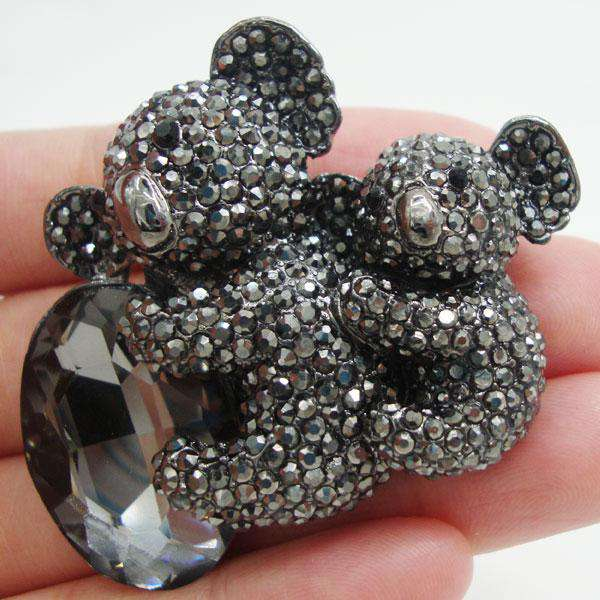 Black Rhinestone Crystal Koala Brooch Pin - Green Earth Animals