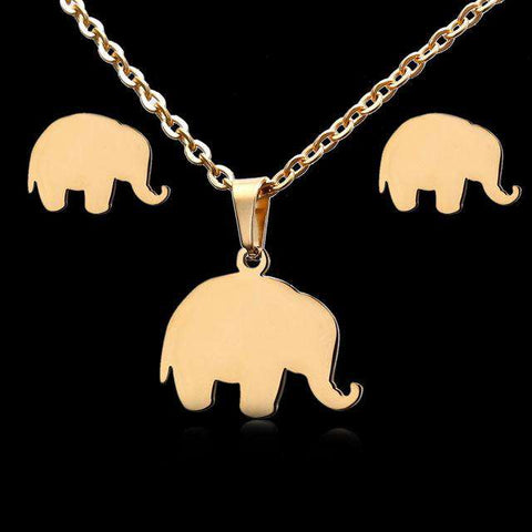 Gold Elephant Jewelry Set