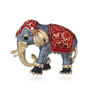 Enamel Elephant Brooch Pin