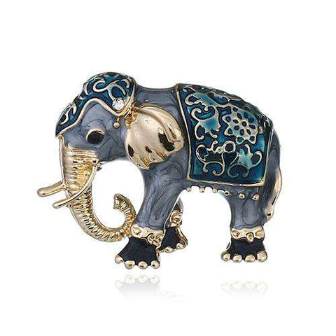 Image of Enamel Elephant Brooch Pin - Green Earth Animals