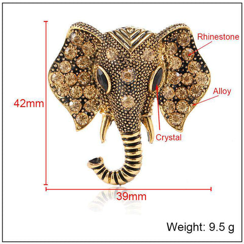 Image of Ancient Elephant Brooch - Green Earth Animals