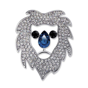 Crystal Rhinestone Lion Head Brooch - Green Earth Animals