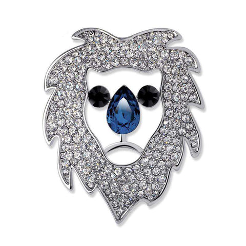 Image of Crystal Rhinestone Lion Head Brooch - Green Earth Animals