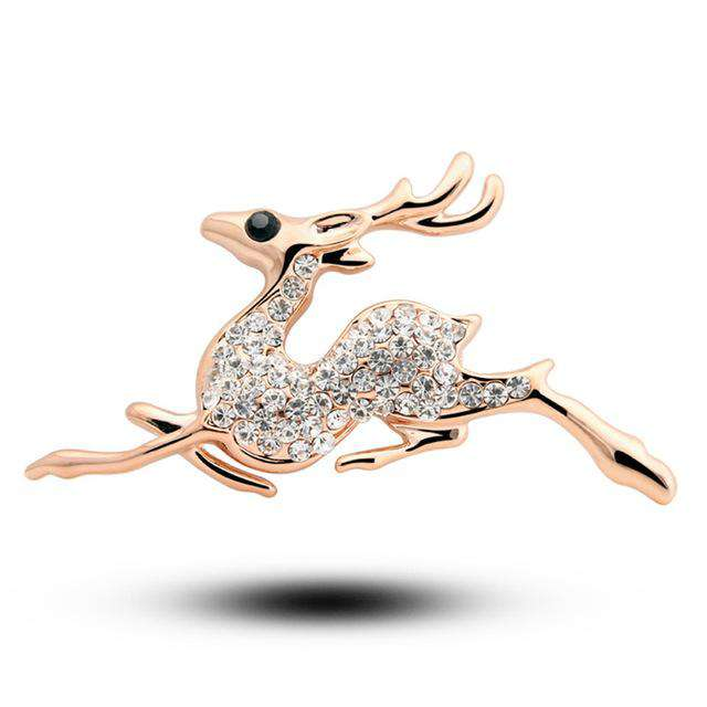 Rhinestone Sika Deer Brooch - Green Earth Animals
