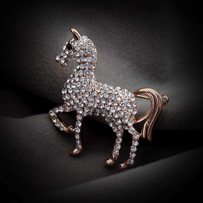 Horse Lover's Crystal Brooch Pin - Green Earth Animals
