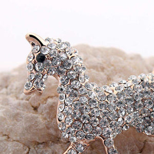 Horse Lover's Crystal Brooch Pin