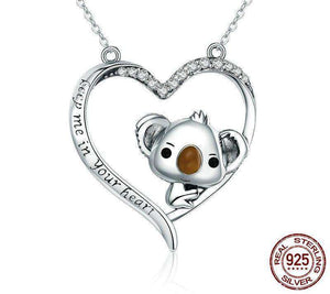 Sterling Silver Koala Heart Necklace