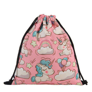 Pink Unicorn and Rainbows Drawstring Knapsack - Green Earth Animals