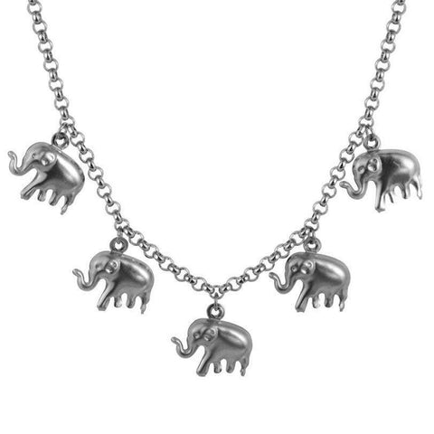 Stainless Steel Elephant Choker Necklace - Green Earth Animals