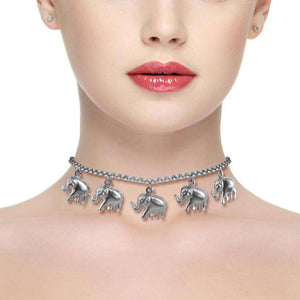 Stainless Steel Elephant Choker Necklace