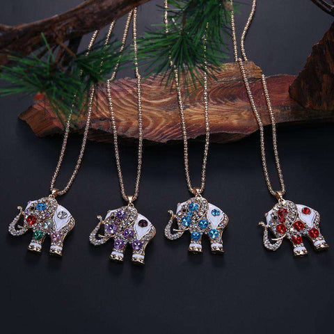 Crystal Elephant Necklace - Green Earth Animals