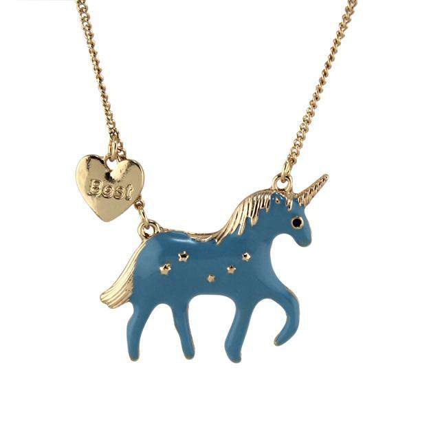 Best Friends Pink Unicorn Necklace - Green Earth Animals
