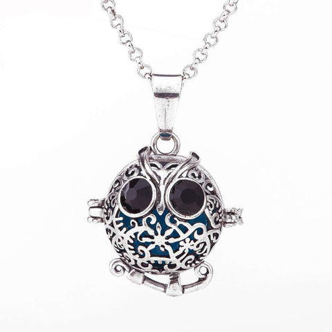 Lucky Owl Locket Necklace - Green Earth Animals