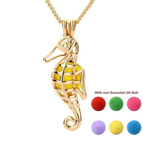Seahorse Aromatherapy Necklace - Green Earth Animals