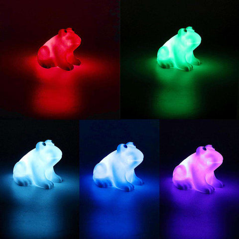 Cute LED Changing Colors Frog Lamp - Green Earth Animals