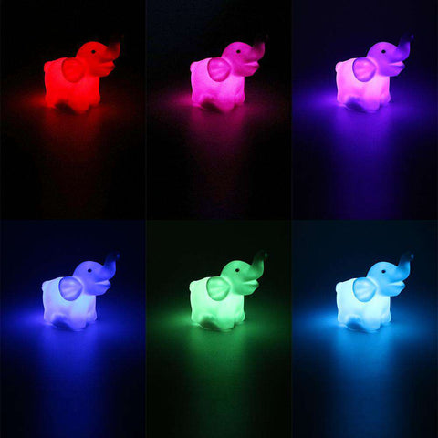 Cute LED Changing Color Elephant Lamp - Green Earth Animals