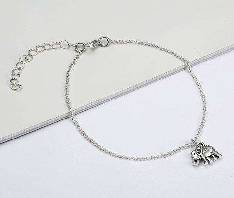 Women's Elephant Pendant Anklet - Green Earth Animals