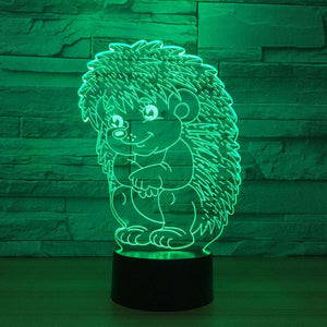 3D Hedgehog LED Changing Lights Lamp