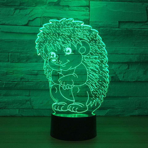 3D Hedgehog LED Changing Lights Lamp - Green Earth Animals