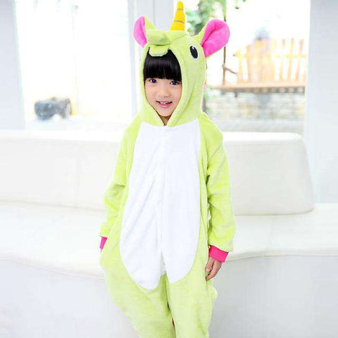 Image of Kid's Unicorn Blanket Sleepers Pajamas - Green Earth Animals