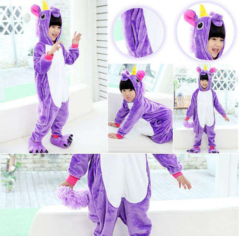 Kid's Unicorn Blanket Sleepers Pajamas - Green Earth Animals