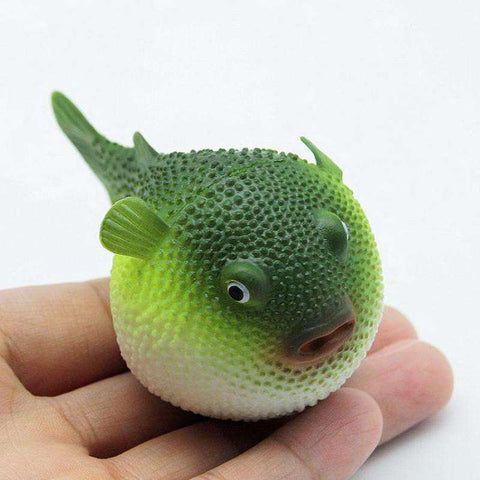 Glowing Puffer Fish Aquarium Ornament - Green Earth Animals