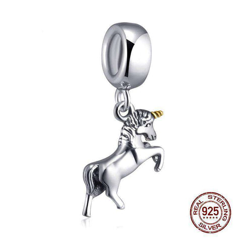 Sterling Silver Unicorn Charm - Green Earth Animals