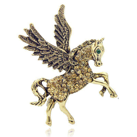 Winged Unicorn Brooch Lapel Pin - Green Earth Animals